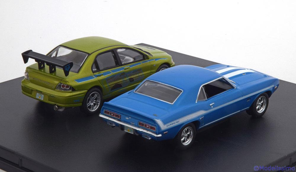Set 2 Fast 2 Furious Mitsubishi Evo 7 & Camaro Yenko 1-43 Greenlight Collectibles