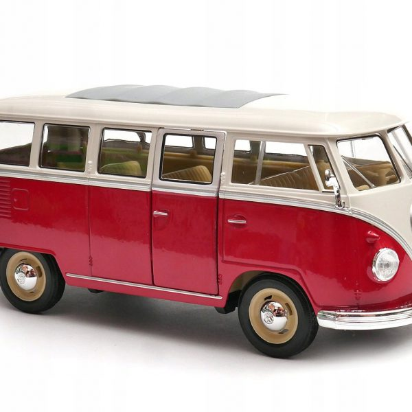 Volkswagen T1 Bus 1963  Rood/Wit 1:24 Welly