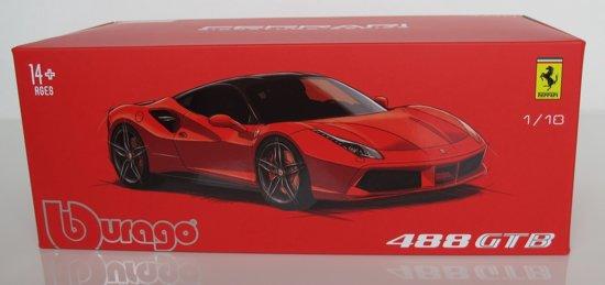 Ferrari 488 GTB - 2015, Rood met zwart dak en zwarte velgen *1-18 Bburago Signature Series*