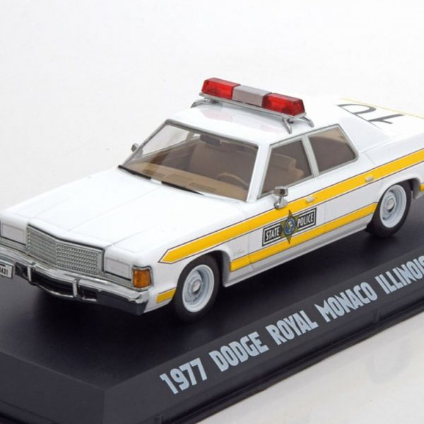 "Dodge Royal Monaco Illinois State Police 1977 ""The Blues Brothers"" 1:43 Wit/Geel Greenlight Collexctibles"
