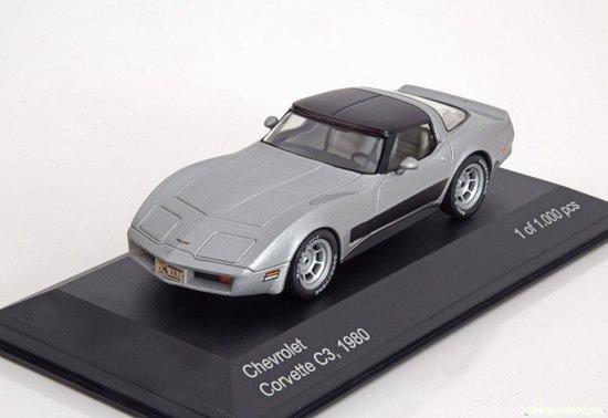 Chevrolet Corvette C3 Coupe 1980 Zilver /zwart 1-43 Whitebox Limited 1000 Pieces
