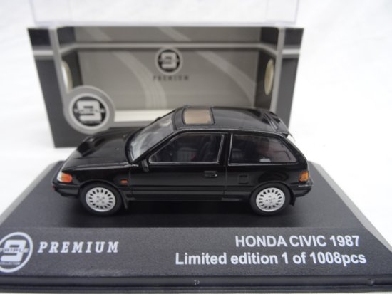 Honda Civic 1987 Zwart 1-43 Triple 9 Collection Limited 1008 Pieces