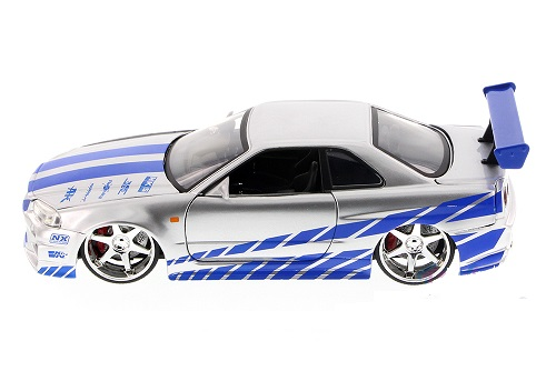 Brian's Nissan Skyline GT-R 34 Fast & Furious Zilver Jada Toys 1-24