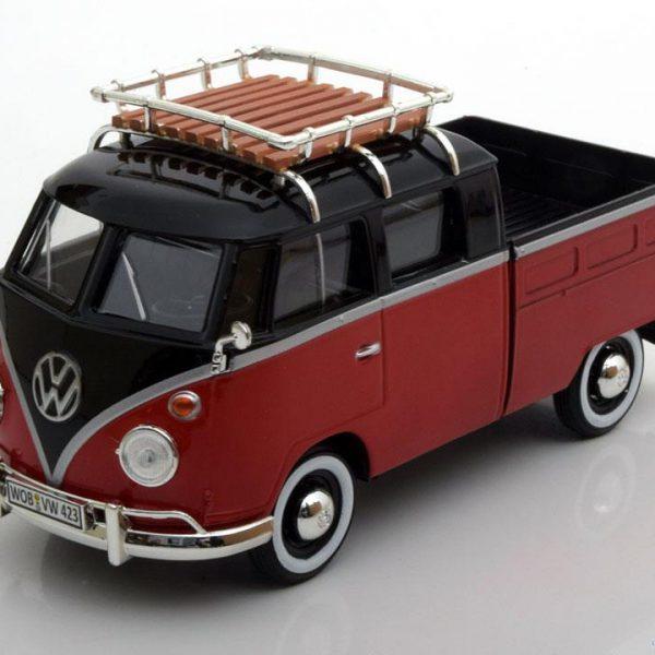 Volkswagen T1 Type 2 Pick Up Rood / Zwart 1-24 Motormax