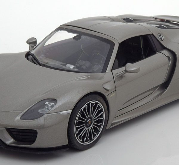 Porsche 918 Spyder Hard-top - Grijs Metallic 1:18 Welly
