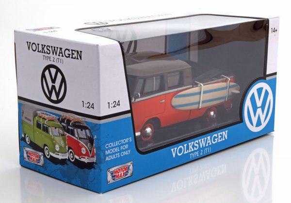 Volkswagen T1 Type 2 Pick Up met Huif Grijs/Bruin 1-24 Motormax