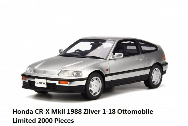Honda CR-X MkII 1988 Zilver 1-18 Ottomobile Limited 2000 Pieces