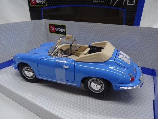 Porsche 356B Cabrio 1961 1-18 Blauw Burago