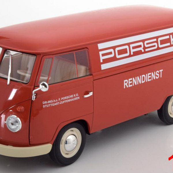 "Volkswagen T1 Bus 1963 ""Porsche Renndienst"" Rood 1:18 Welly"