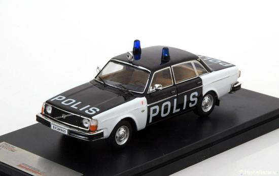 Volvo 244 Swedish Police 1978 Zwart/Wit 1-43 PremiumX