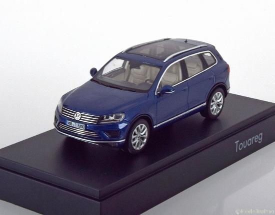 Volkswagen Touareg 2015 Blauw Metallic 1-43 Herpa