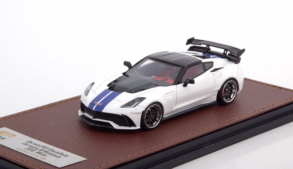 Chevrolet Corvette C7 Widebody DarwinPro BlackSails 2016 Wit / Blauw 1-43 GLM Models Lim. 99 Pcs