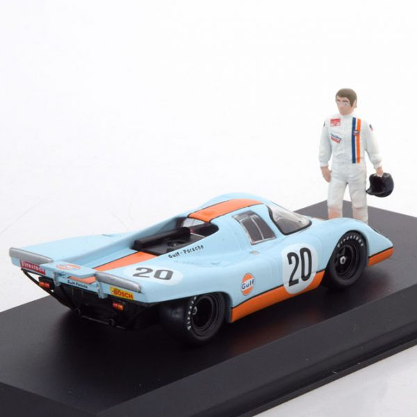 "Porsche 917K "" Steve McQueen"" Gulf Nr# 20 Met Mc Queen Figuur 1-43 Greenlight Collectibles"