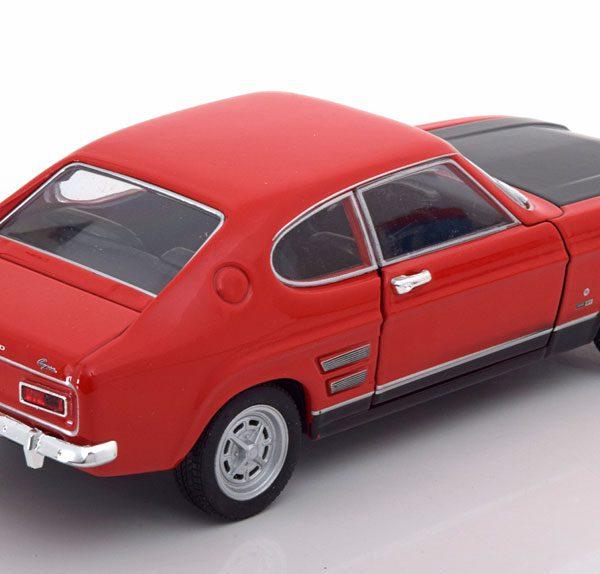 Ford Capri 1969 Rood / Zwarte Motorkap 1-24 Welly