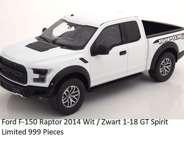 Ford F-150 Raptor 2014 Wit / Zwart 1-18 GT Spirit Limited 999 Pieces