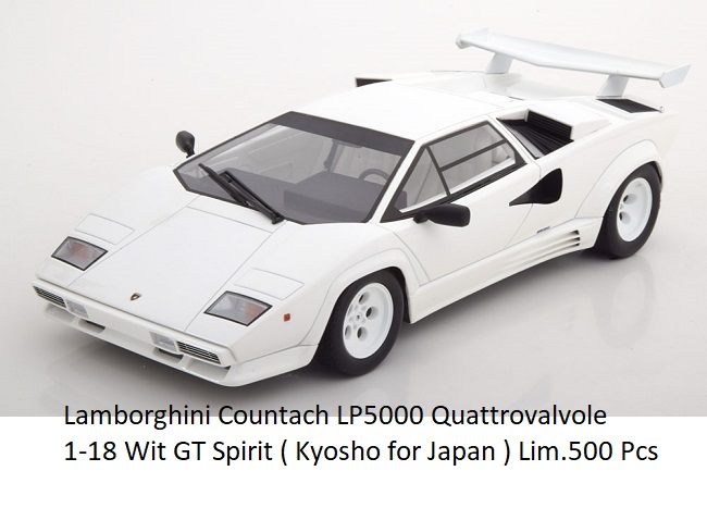 Lamborghini Countach LP5000 Quattrovalvole 1-18 Wit GT Spirit ( Kyosho for Japan ) Limited 500 Pcs