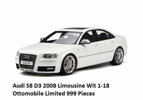 Audi S8 2008 D3 Limousine Wit 1/18 Ottomobile Limited 999 Pieces