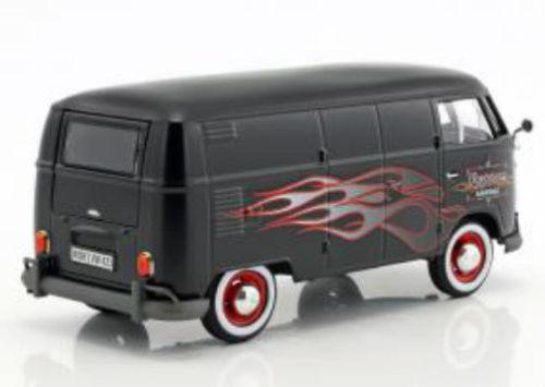 Volkswagen Type 2 T1 Bus Custom Garage Mat Zwart met Vlammen 1:24 MotorMax