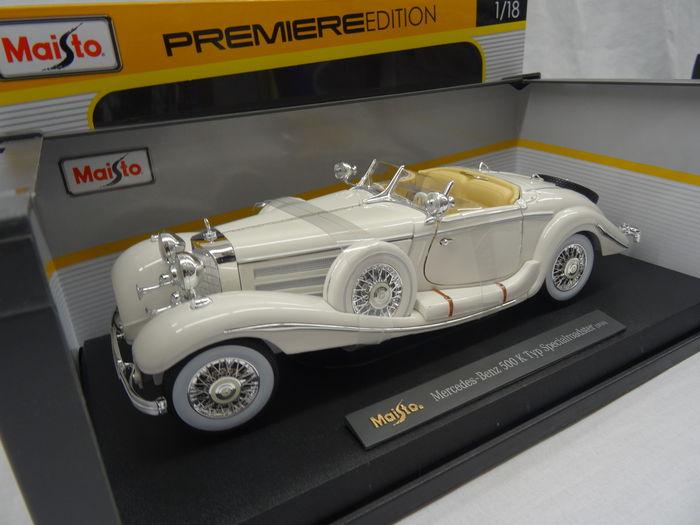 Mercedes-Benz 500 K Special Roadster 1936 Wit 1:18 Maisto