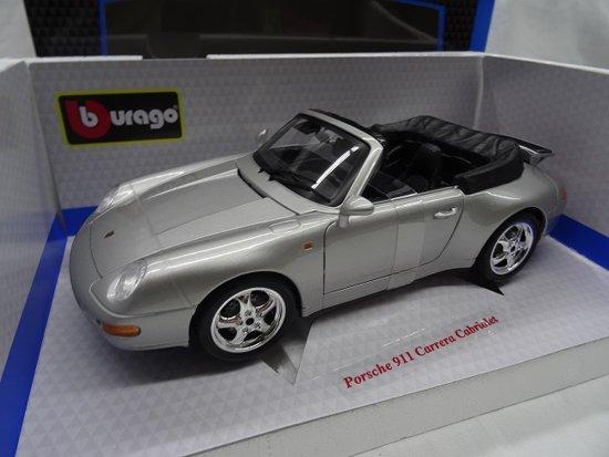 Porsche 911 Carrera Cabrio 1994 zilver 1-18 Burago
