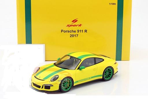 Porsche 911 R 2017 Geel / Groen 1-18 Spark