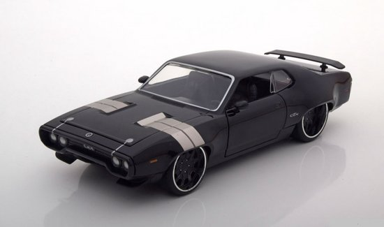 Dom's Plymouth GTX Fast and Furious 8 2017 Zwart 1/24 Jada Toys
