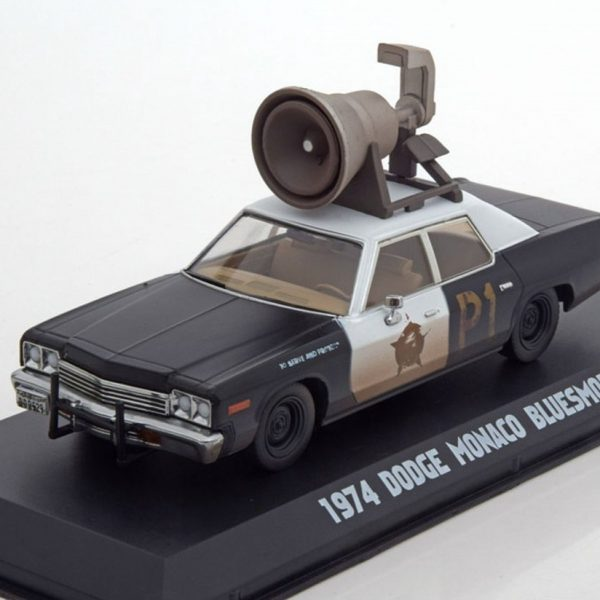 Dodge Monaco Bluesmobile 1974 with horn Zwart/Wit 1:43 Greenlight Collectibles