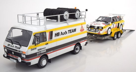 Volkswagen LT met Trailer /Audi Quattro S1 Rally Portugal 1985 Röhrl/Geistdoerfer 1-18 Ottomobile Limited 3000 Pieces