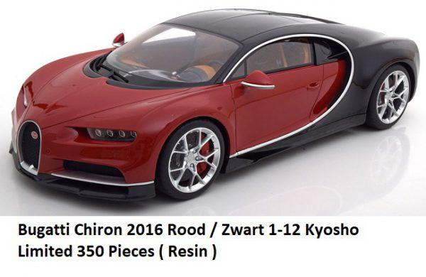 Bugatti Chiron 2016 Rood / Zwart 1/12 Kyosho / Made by GT Spirit