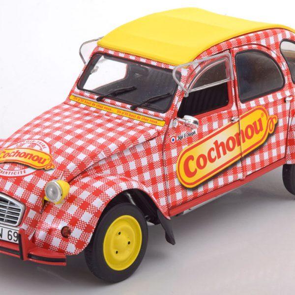 "Citroen 2CV6 ""Cochonou""1969 Geel / Rood /wit 1-18 Solido"