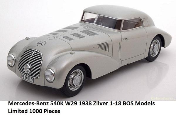 Mercedes-Benz 540K W29 1938 Zilver 1-18 BOS Models Limited 1000 Pieces