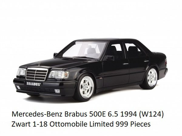 Mercedes-Benz Brabus 500E 6.5 1994 (W124) Zwart 1-18 Ottomobile Limited 999 Pieces