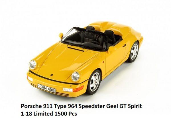 Porsche 911 (964) Speedster 1:18 GT Spirit Geel Limited 1500 Pieces