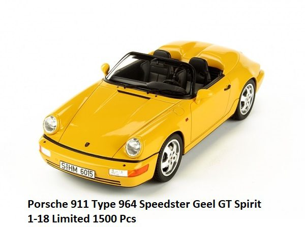 Porsche 911 (964) Speedster 1:18 GT Spirit Geel Limited 1500 Pieces