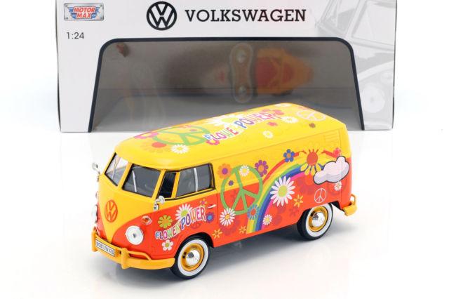 """Volkswagen Type 2 T1 bus """"Flower Power"""" Geel / Oranje 1:24 MotorMax"""