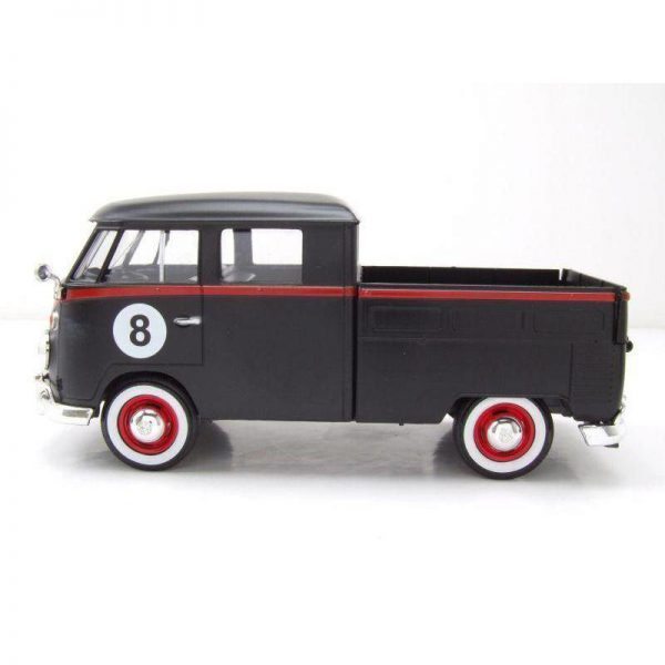 Volkswagen Type 2 T1 Pick-Up Hot Rod 8 Ball Mat Zwart / Rood 1:24 MotorMax