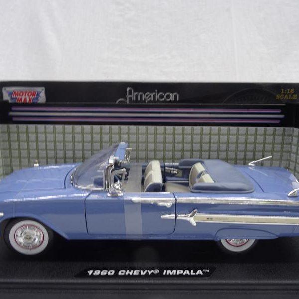 Chevrolet Impala Cabriolet 1960 Blauw 1-18 Motormax