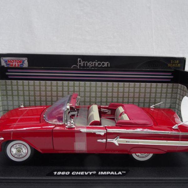 Chevrolet Impala Cabriolet 1960 Rood 1-18 Motormax