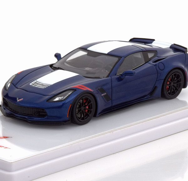 Chevrolet Corvette Grand Sport Coupe 1-43 Blauw Metallic / Wit True Scale MIniatures ( Resin )