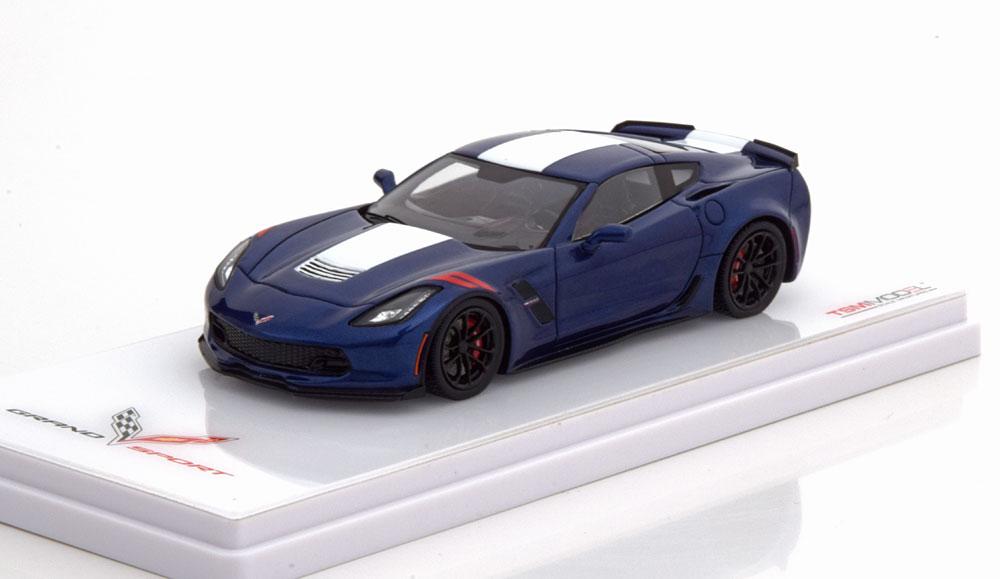 Chevrolet Corvette Grand Sport Coupe 1-43 Blauw Metallic / Wit True Scale MIniatures ( Resin )
