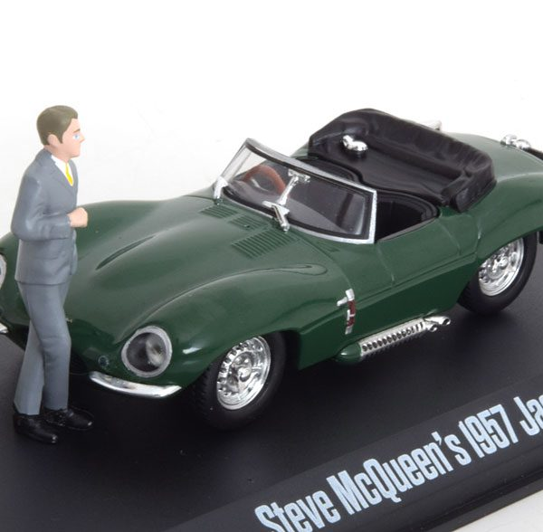 "Jaguar XKSS 1957 ""Steve McQueen Collection""met figuur Groen 1-43 Greenlight Collectibles"