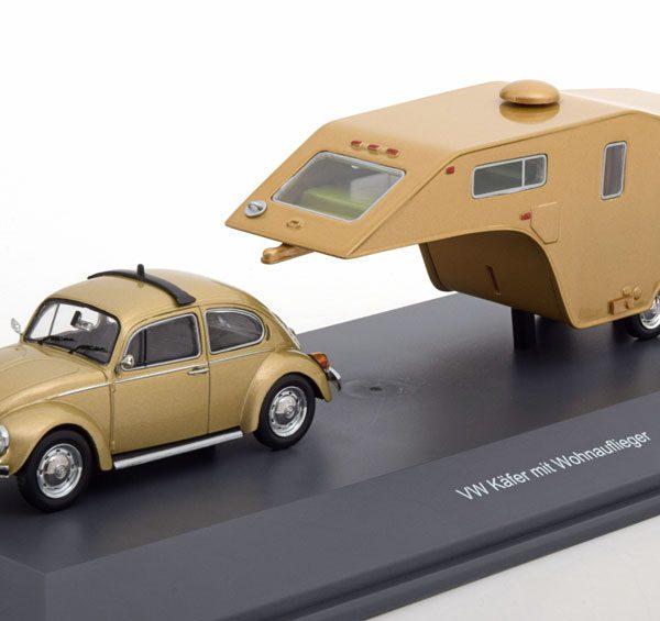 Volkswagen Kever 1200 met Woonwagen 1-43 Goud Metallic Schuco Pro R Limited 500 Pieces