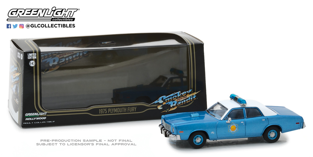 "Plymouth Fury 1975 ""Smokey And the Bandit ""Police 1-43 Greenlight Collectibles"