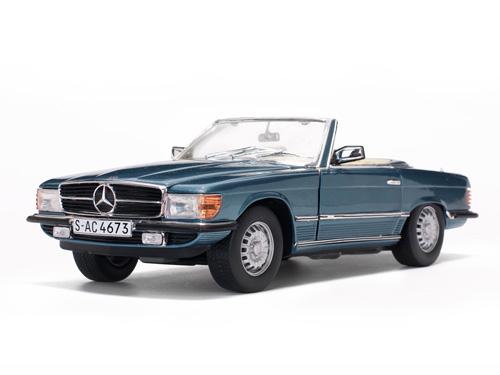 Mercedes-Benz 350 SL Open Convertible1977 Metallic Blauw 1:18 Sun Star