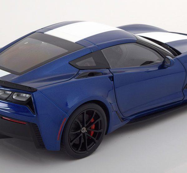 Chevrolet Corvette C7 Grand Sport 2017 Blauw / Wit 1-18 Autoart