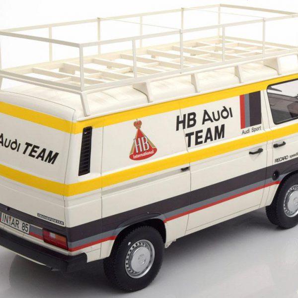 Volkswagen T3 Bus Kastenwagen HB Audi Team Wit/Geel 1:18 Premium Classixxs Limited 500 pcs.