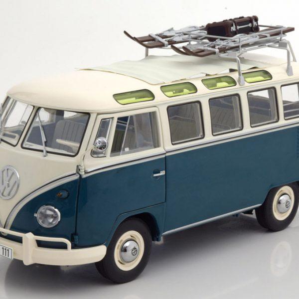 """Volkswagen Bus T1b """"Samba Bus""""""""Wintersport"""" Blauw / Beige 1-18 Schuco Limited Edition 750 pcs."""