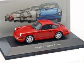 Porsche 911 (964) Carrera 4 1991 Rood 1:43 Atlas Porsche Collection