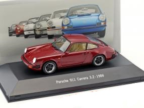 Porsche 911 Carrera 3.2 1984 Donker Rood 1:43 Atlas Porsche Collection