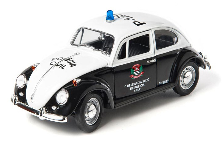 Volkswagen Beetle 1967 Policia Civil Sao Paulo Brazil Zwart / Wit 1-18 Greenlight Collectibles